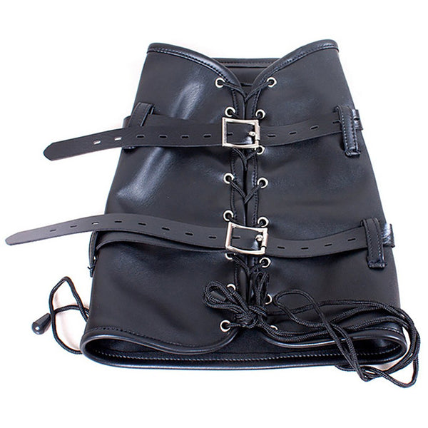 Legs Binding Restaint Lace-up Leather Sleeve Harness Bondage
