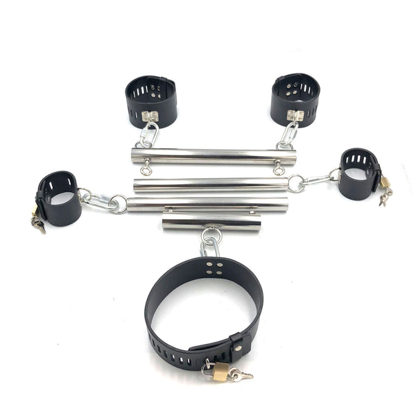 Stainless Steel Portable Detachable Hand Foot Neck Fixed Cuffs Multiple Combinations Bondage Restraints
