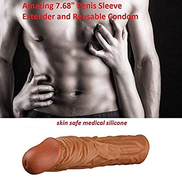 Reusable Penis Sleeve 4CM Extention Penis Extender Sex Toy for Men