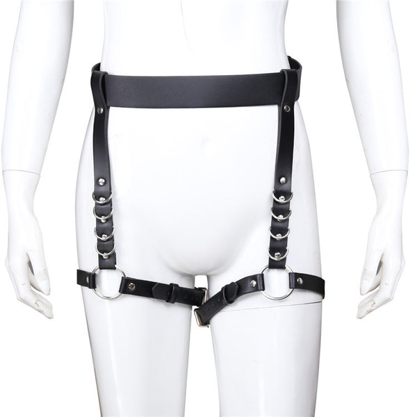 Punk Gothic Body Bandage Waist Leather Harness Leg Loop Strap Adjustable Bondage Waist Belt