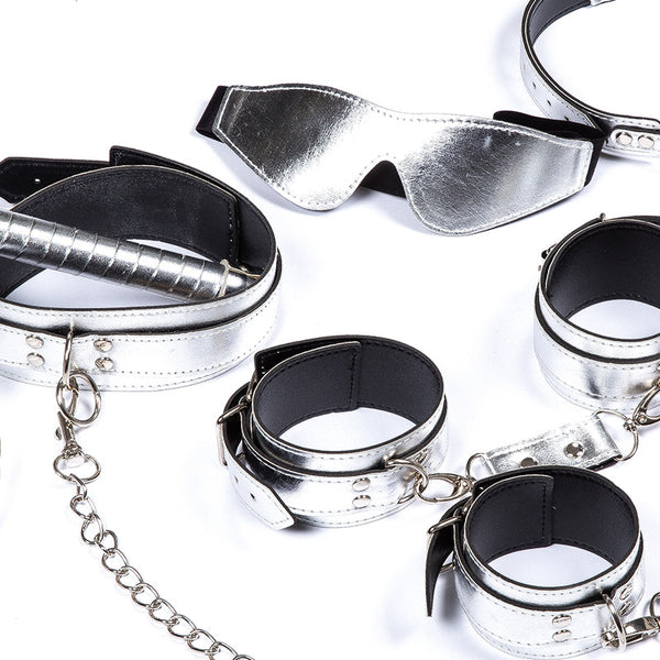 Silver Leather Bondage Restraint Kit 7pcs In 1 Set