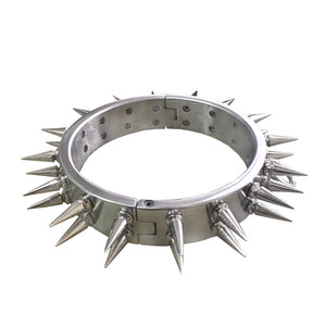 Stainless Steel Collar With 2 Rows Spikes