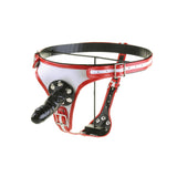 Adjustable PU Leather Strap On Strapon Restraint Pants Harness With 3 Removable Dildo For Anal Vaginal(Red/White)