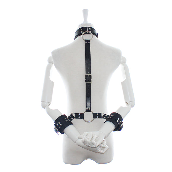 PU Leather Bondage Restraints Back Handcuffs With Neck Collar SM Games Props For Couples
