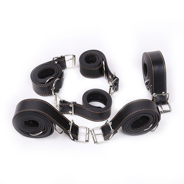 6pcs/Lot Body Bondage Restraints Belt Adjustable PU Leather BDSM Bundled Straps Kit Slave Discipline Rope
