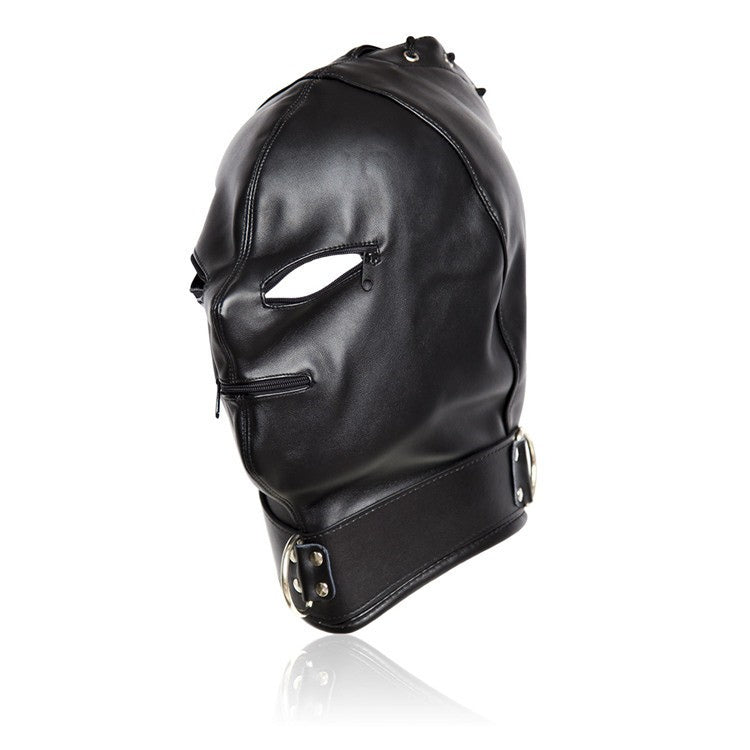PU Leather Hood Blindfold Zipper Eye Mouth Head Restraints Harness Mask BDSM Bondage Cosplay Sex Toys For Couples