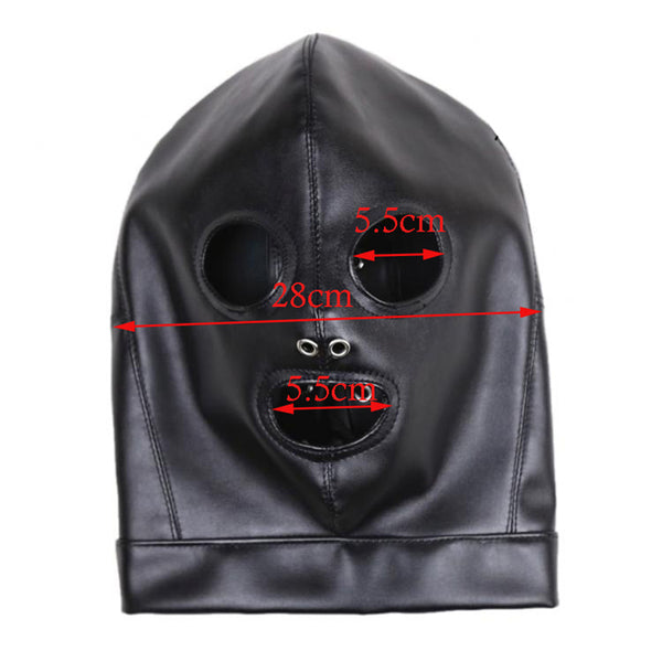 PU Leather Bondage Hood Mask Gothic BDSM Hood Open Eyes Open Mouth
