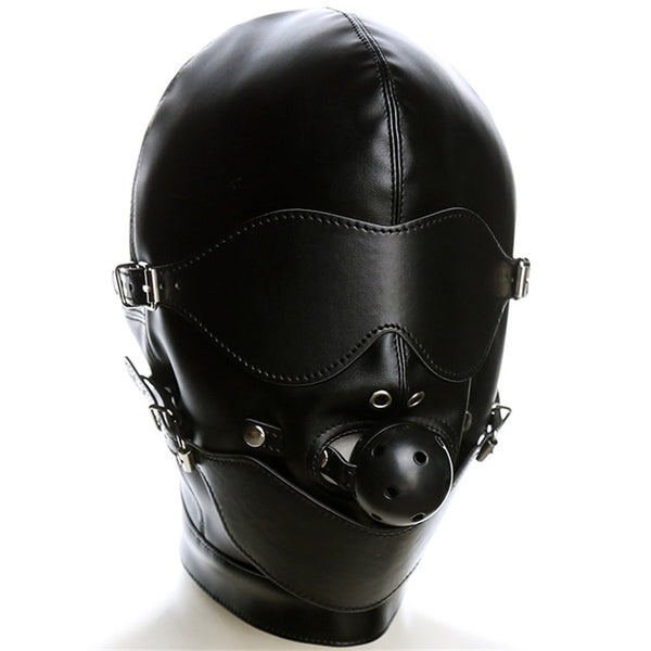 PU Leather Fetish Mouth Gag Harness Headgear Eye Mask Head Cover Bondage Restraint SM Costume Sex Toy For Couple