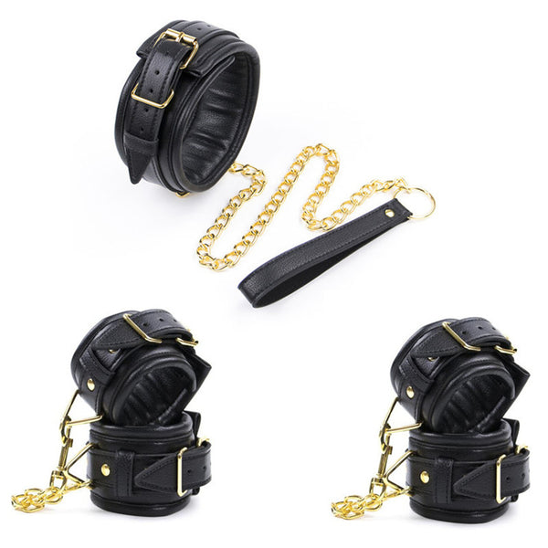 Leather Soft Padded Sex Handcuffs & Ankle Cuffs & Neck Collar Metal Chain BDSM Bondage Set Sex Toys for Couples