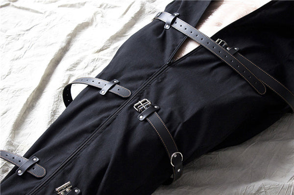 Black Canvas Full Body Bondage Bag BDSM Binder Straitjacket Sleeping Sack Fetish Slave Restraints Body Harness