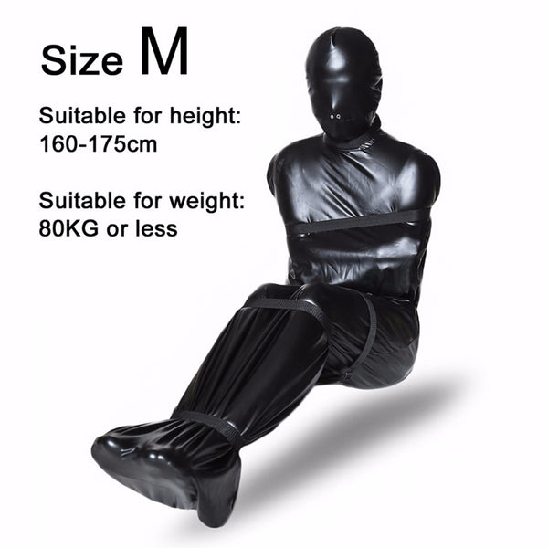 Fully Wrapped Patent Leather Leaky Nose Straitjacket with 6 Restraints Belt SM Costume Bedroom Game Sex Toys for Couples