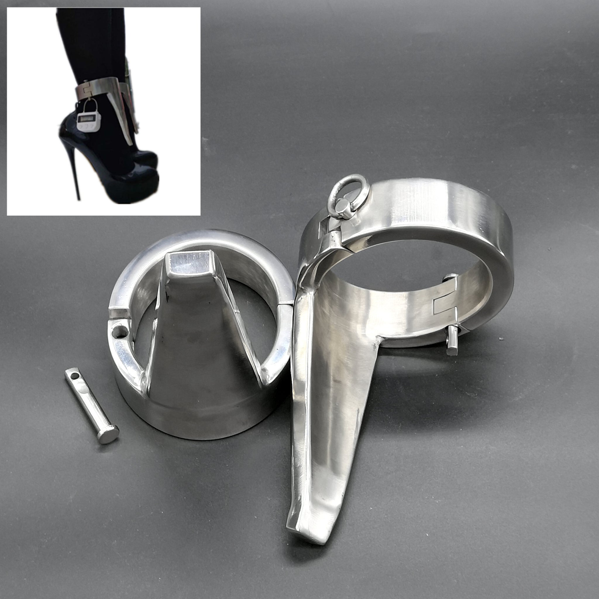 Handmade Ballet Ankle Cuffs Force To Wear High Heels Restraints Device