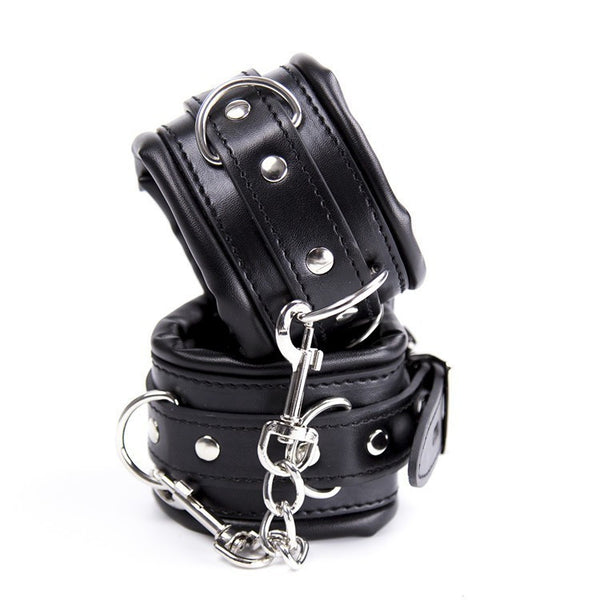PU Leather Padded HandCuffs & Ankle Cuffs & Neck Collar Bondage Restraint Set