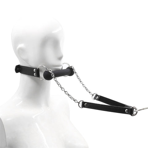 BDSM Mouth Gag Black Bone Gag with Traction Chain Head Bondage Harness Slave Fetish Toy
