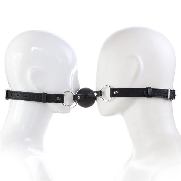 Solid Silicone Ball Mouth Gag For 2 Persons PU Leather Bondage Retsraints