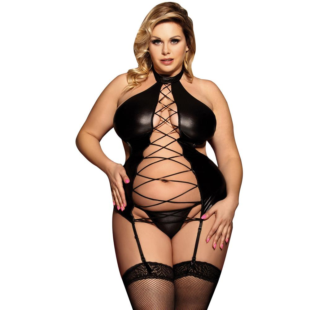 AR80467 Sex Lingerie Plus Size Hollow Out Open Back Halter Black Faux Leather Lingerie