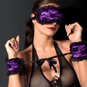 Women Sexy Lingerie Hot Lace Floral Eye Mask Blindfold Patch With Handcuffs Erotic Accessories Set For Couples