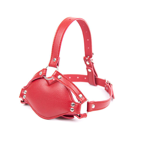 Red PU Leather Head Harness With Silicone Dildo Mouth Gag