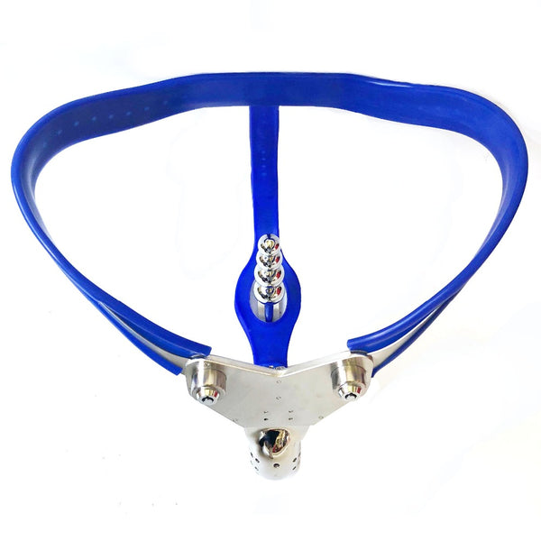 Stainless Steel Blue Silicone Male Chastity Belt With Anal Plug