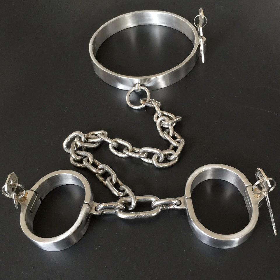 Stainless Steel Bondage Set Neck Collar+Hand Cuffs With Chain