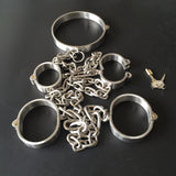 Stainless Steel Bondage Kit Collar+Handcuffs+Ankle Cuffs With Chain