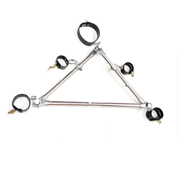 Stainless Steel Triangle Forced Leg Opening Bound Device Bondage Restraints PU Leather Collar Hand Leg Cuffs Fetish