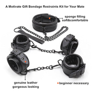 Bondage Fetish Entry Props Genuine Leather BDSM Restraints Kit Collar+Handcuffs+Ankle Cuffs