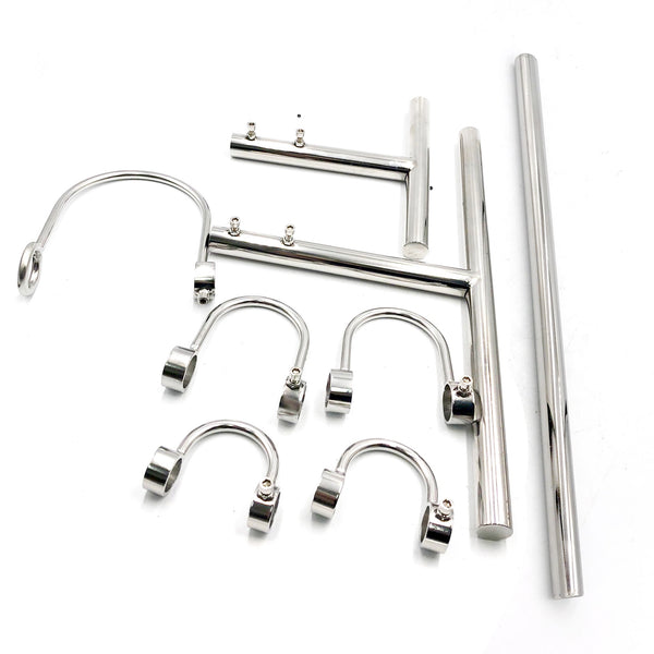 Stainless Steel Force Kneel Spreader Bar Bondage Restraints Handcuffs Collar BDSM Kit
