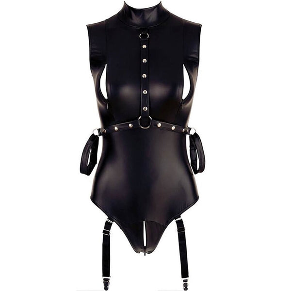 AR80876 Faux Leather Bodysuits Sleeveless Mock Neck Turtleneck Bodysuit with Zip Sexy Costumes Sexy Bodysuit