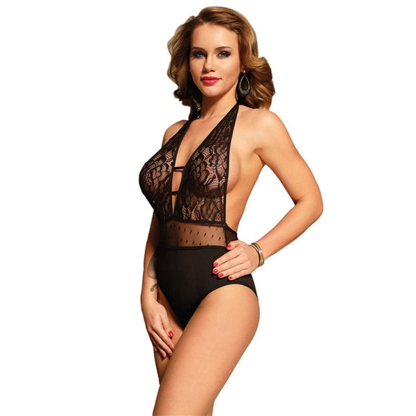 AR80778 Sexy Lingerie Bodysuit For Women Erotic Lace Sheer Sexy Body Plus Size Backless Halter Transparent Sexy Teddy