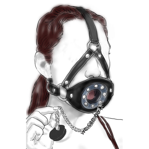 Open Mouth Ejaculation Swallow Sperm Full Head Harness Slave Mask Gag Muzzle