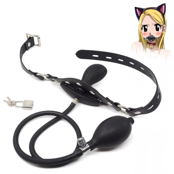 Inflatable Open Mouth Gag Oral Fixation Leather Fetish Bdsm Bondage Retraints