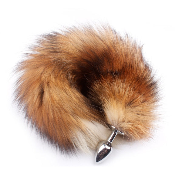 Wholesale 30pcs/Lot Real Red Fox Tail Anal Plug Metal Butt Plug With Tail
