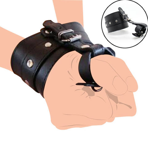 PU Leather Wrist to Thumbs Cuffs Hand Wrist Cuffs Bondage Restraints