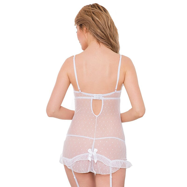 AR70100 Stretch Lace and Dot Mesh White Garter Plus Size Lingerie Hot Sale Erotic Babydoll