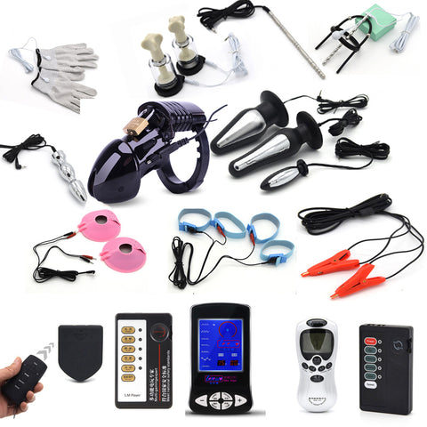 Electric Shock Accessories Pulse Anal Plug Penis Plug Rings Glove Stimulation Breast Pads Massage Cock Cage Nipple Clamp