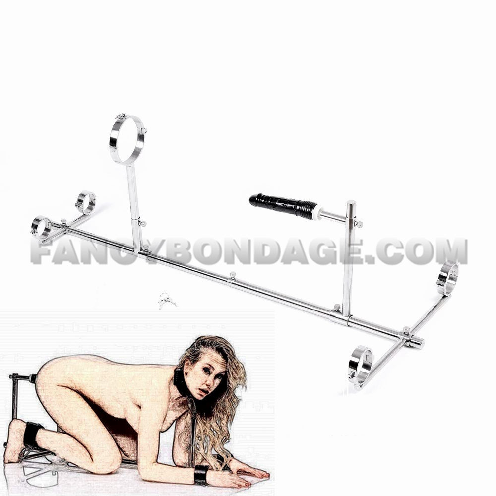 K9 Bondage Frame Stainless Steel Collar Ankle Cuffs Handcuffs Slave Restraints With Dildo
