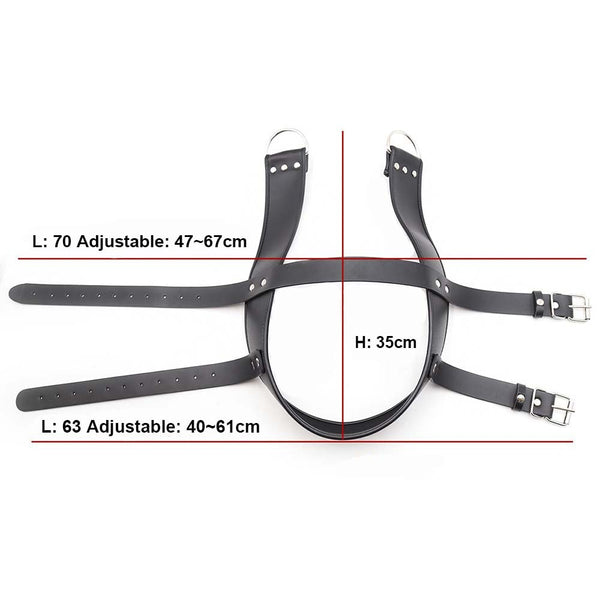BDSM Bondage Head Harness Leather Hanging Suspension Hanger Hood