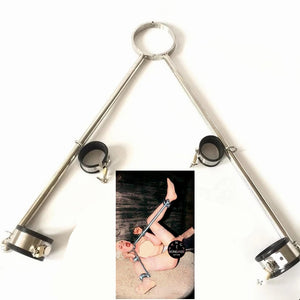 Stainless Steel Forced Open Leg Handcuffs Ankle Cuffs Anchor BDSM Bondage Set