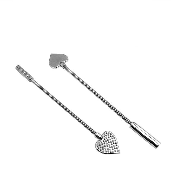 Stainless Steel Spanking Whip Metal Heart-Shaped Paddle