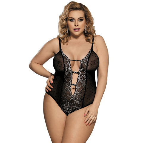 AR80320 Mesh Sexy Bodysuit Erotic See Though Deep V Neck Thin Body Plus Size Lace Black Embroidery Teddy Lingerie