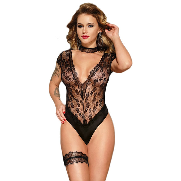 AR80624 Black Lace Sexy Teddy Deep V Neck Sexy Hot Erotic Black Transparent Women Suits