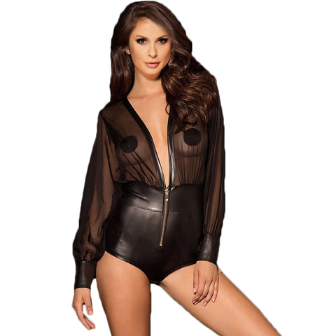 AR80594 Bodysuit Lingerie One Piece Faux Leather Teddies Body Sexy Long Sleeve V-neck Black Transparent Mesh Body Women Suit