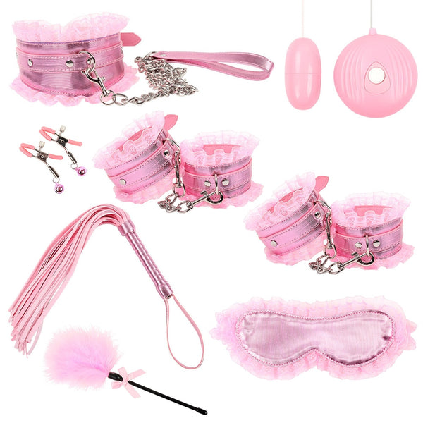 8pcs/set Fetish BDSM Sex Bondage Restraint Kit Erotic Pink Lace Mask Collar Handcuffs