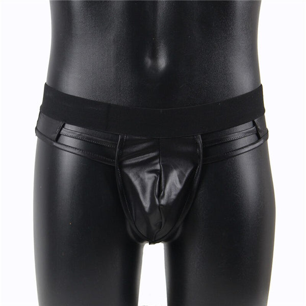 AMP062 Sissy Pouch Panty For Men Thong Bandage Faux Leather Men G string