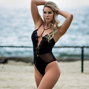 AR80817 One Piece Lace Body Femme Sexy Strappy Lingerie Teddy Black Embroidery Deep V Mesh See Though Erotic Bodysuit