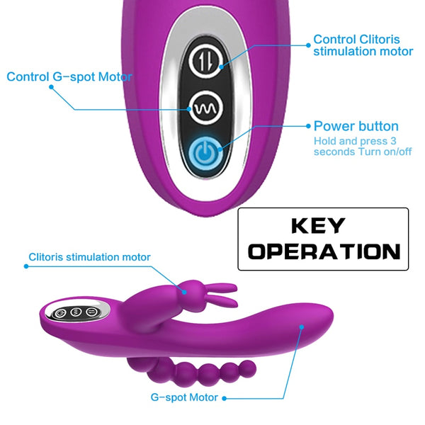 3 in 1 G-Spot Rabbit Anal Dildo Vibrator 7 Vibrating Modes Rechargeable Clitoris Vagina Stimulator