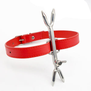 Sex Collar Leather Stainless Steel Heretics Fork Erotic Positioning Bandage Toys for Men/Women