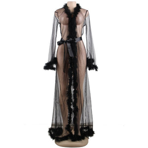 AR80759 Lace Lingerie Robe Sheer Plus Size Sexy Dress Babydoll For Women Transparent Erotic Underwear With Fur