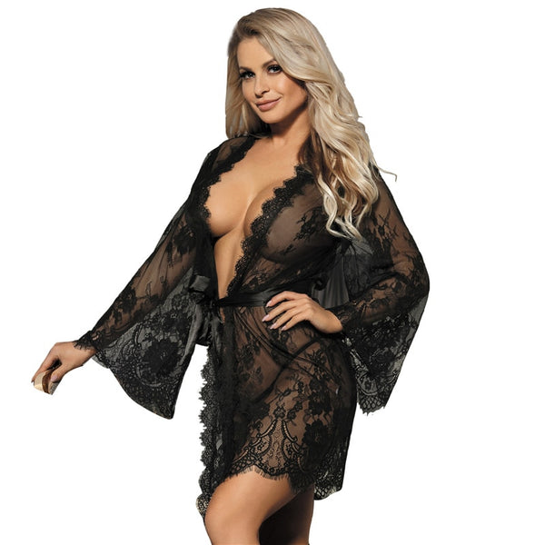 AR80528 Babydoll Lingerie Mesh Transparent Sexy Lingerie With Belt Plus Size Baby Dolls Women Erotic Clothing Lace Kimono Robe